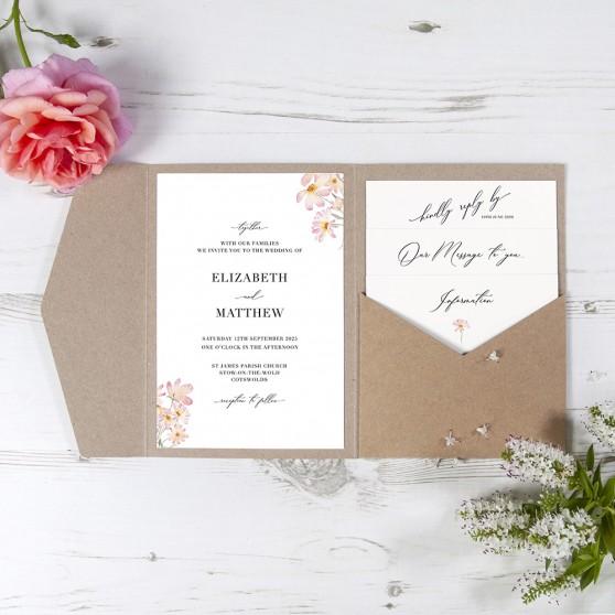 'Daisy Pink' Pocketfold Wedding Invitation