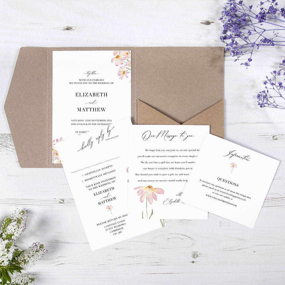 'Daisy Pink' Pocketfold Wedding Invitation