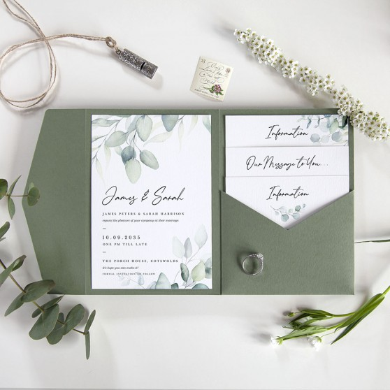 'Dreamy Eucalyptus' Pocketfold Wedding Invitation