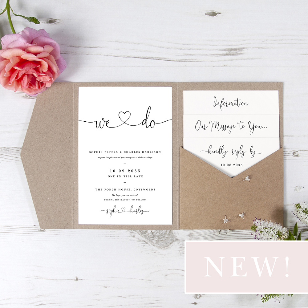 'Edward' Pocketfold Wedding Invitation