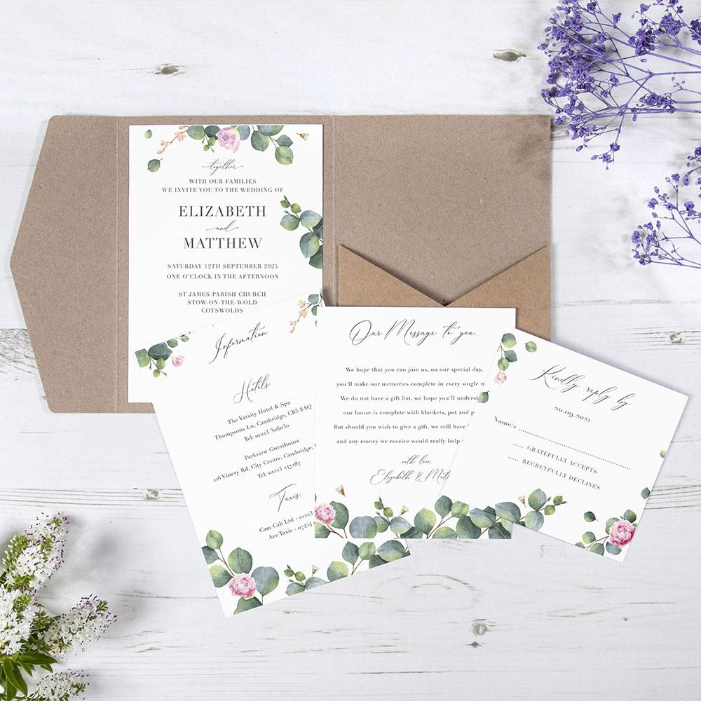 'Eucalyptus Blush' Pocketfold Wedding Invitation