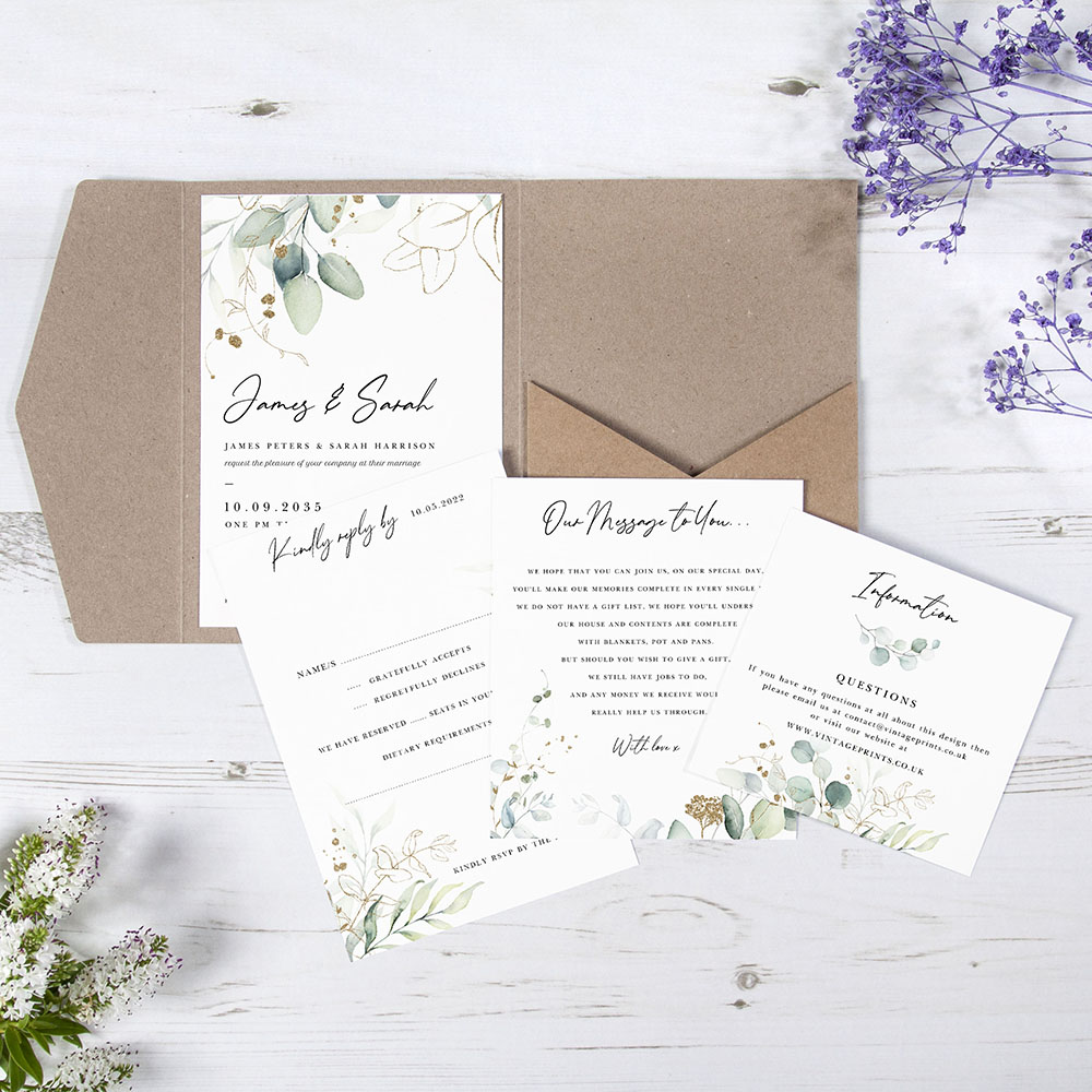 'Green & Gold Eucalyptus' Pocketfold Wedding Invitation Sample