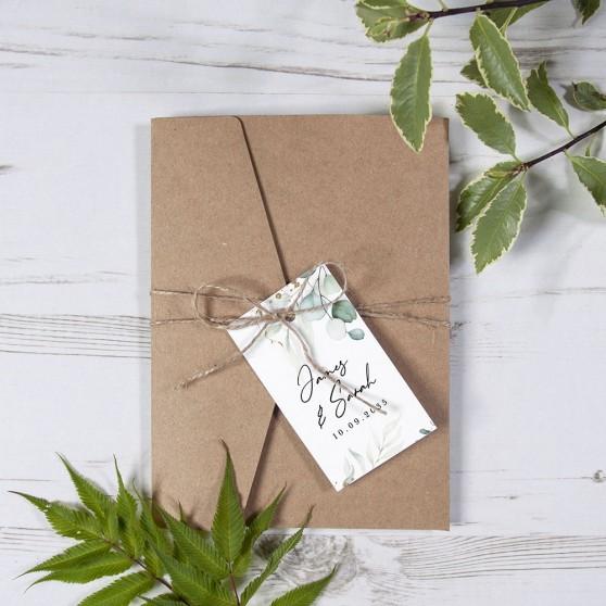 'Green & Gold Eucalyptus' Pocketfold Wedding Invitation Sample