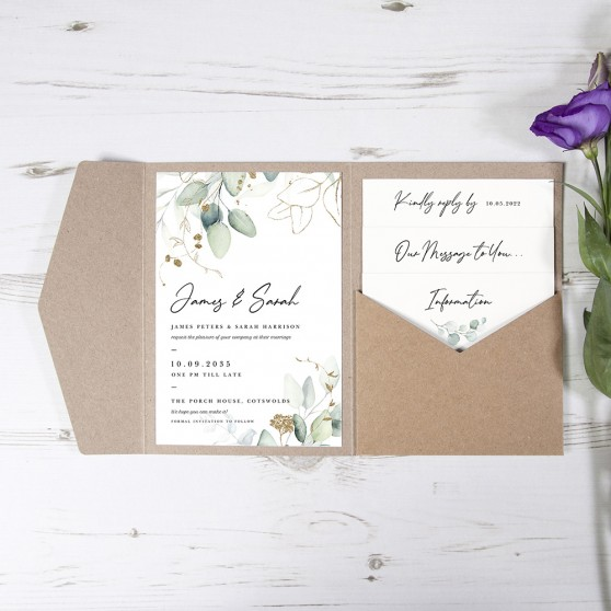 'Green & Gold Eucalyptus' Pocketfold Wedding Invitation
