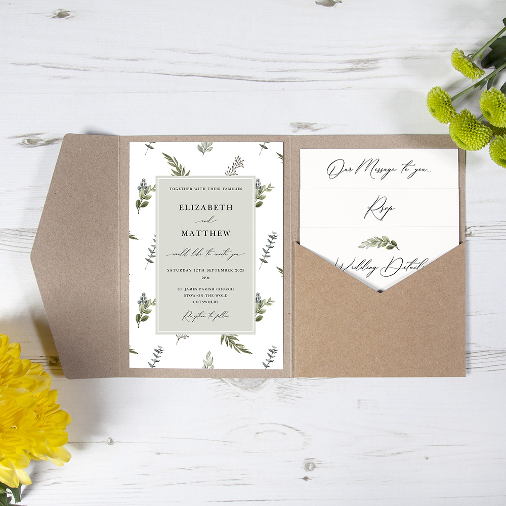 'Kensington' Pocketfold Wedding Invitation