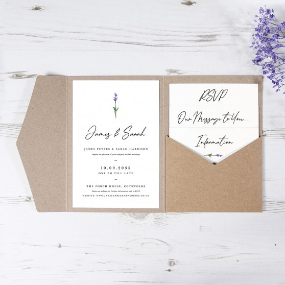 'Lavender' Pocketfold Wedding Invitation Sample