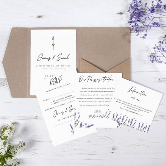 'Lavender' Pocketfold Wedding Invitation