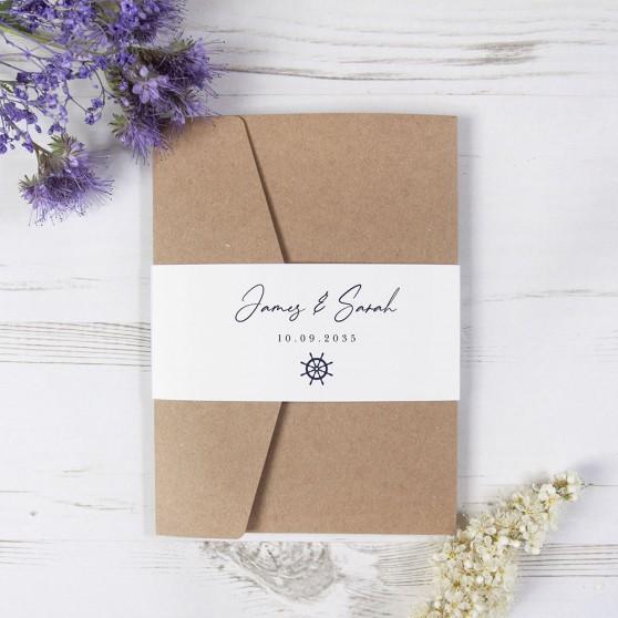 'Nautical' Pocketfold Wedding Invitation Sample