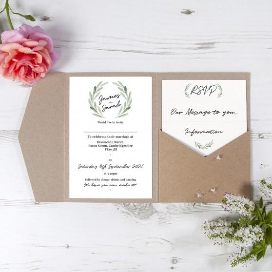 'Olive' Pocketfold Wedding Invitation