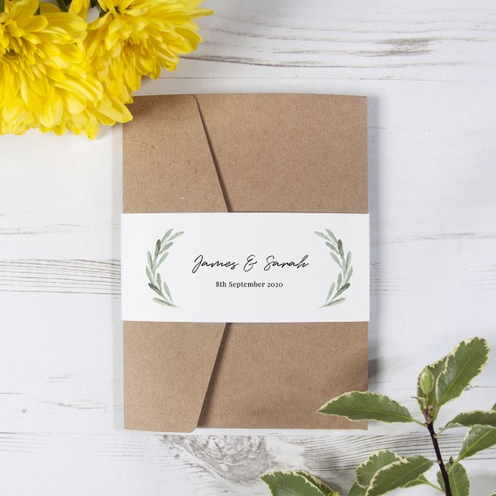 'Olive' Pocketfold Invitation Sample
