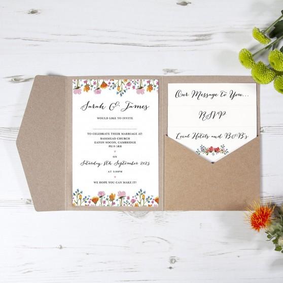 'Wild Floral' Pocketfold Wedding Invitation Sample