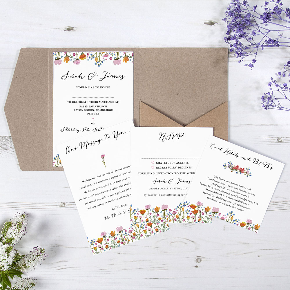 'Wild Floral' Pocketfold Wedding Invitation