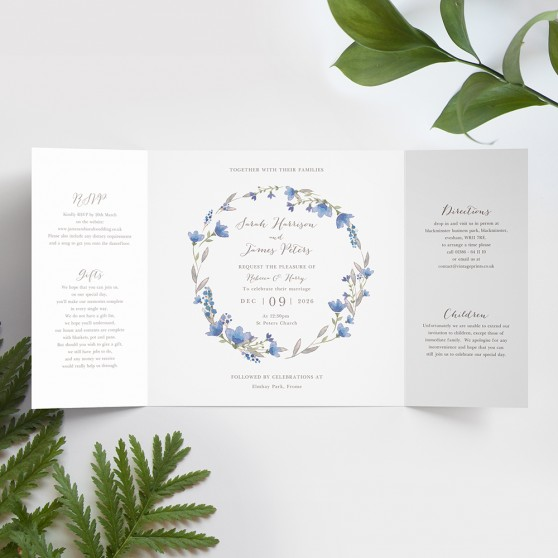 'Blue Floral Watercolour' Printed Gatefold Wedding Invitation