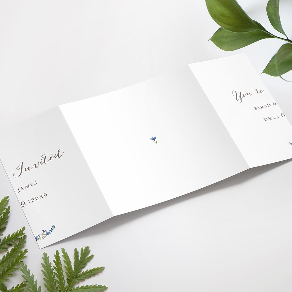 'Blue Floral Watercolour' Printed Gatefold Wedding Invitation Sample