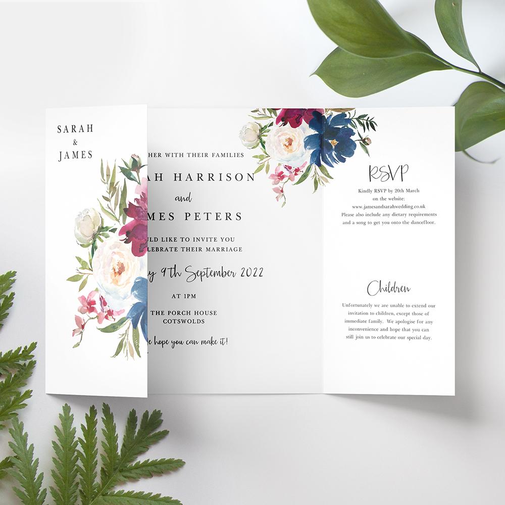 'Blue & Red Velvet' Printed Gatefold Wedding Invitation Sample