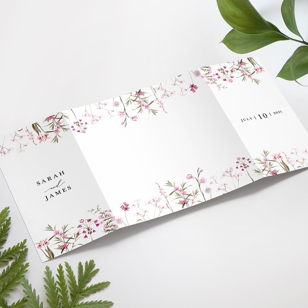 'Pink Botanical' Printed Gatefold Wedding Invitation