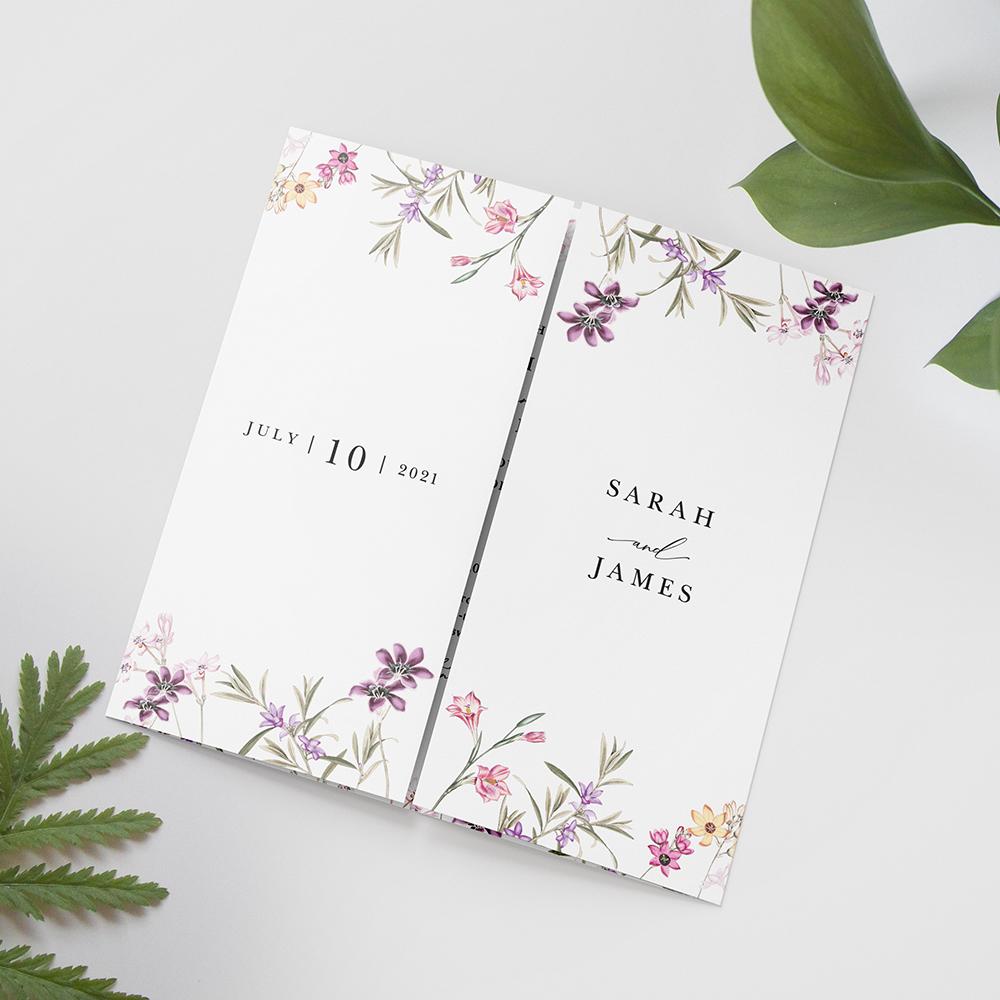 'Wild Botanical' Printed Gatefold Wedding Invitation Sample