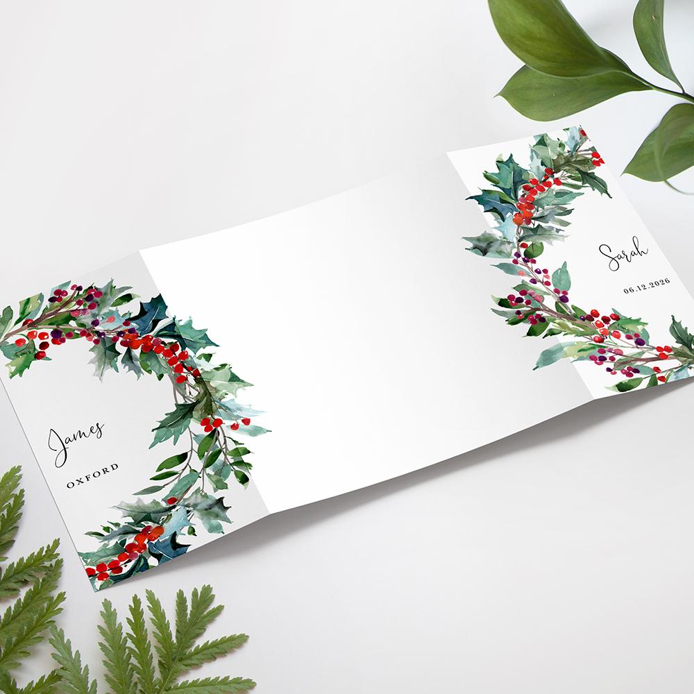 'Christmas Holly' Printed Gatefold Wedding Invitation