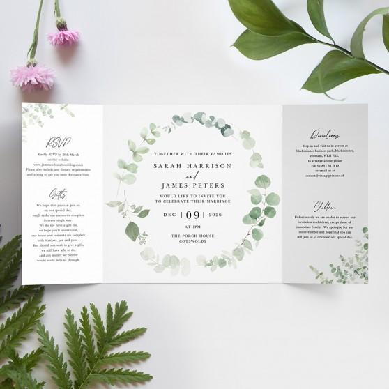 'Classic Eucalyptus' Printed Gatefold Wedding Invitation