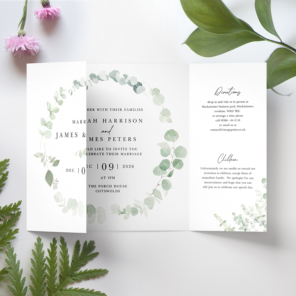 'Classic Eucalyptus' Printed Gatefold Wedding Invitation