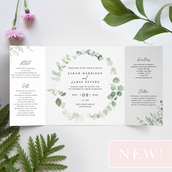 'Classic Eucalyptus' Printed Gatefold Wedding Invitation Sample