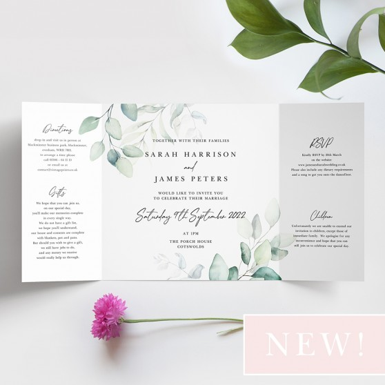 'Dreamy Eucalyptus' Printed Gatefold Wedding Invitation