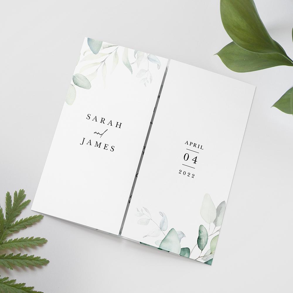 'Dreamy Eucalyptus' Printed Gatefold Wedding Invitation