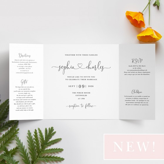 'Edward' Printed Gatefold Wedding Invitation