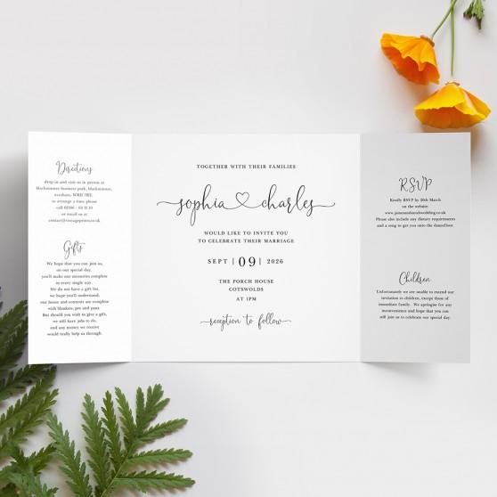 'Edward' Printed Gatefold Wedding Invitation