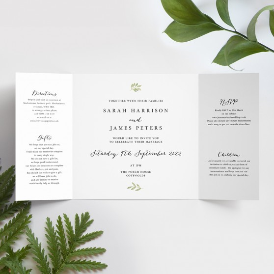 'Green Floral Watercolour' Printed Gatefold Wedding Invitation