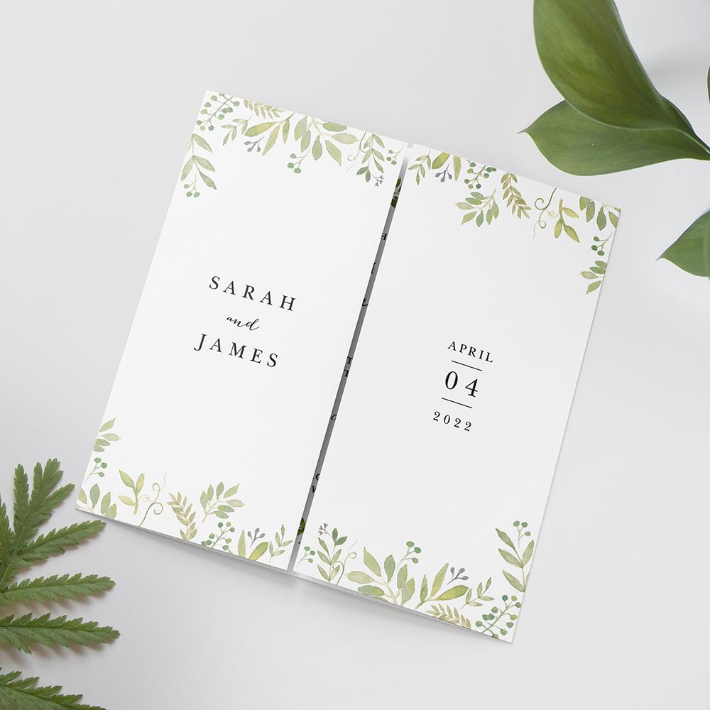 'Green Floral Watercolour' Printed Gatefold Wedding Invitation Sample