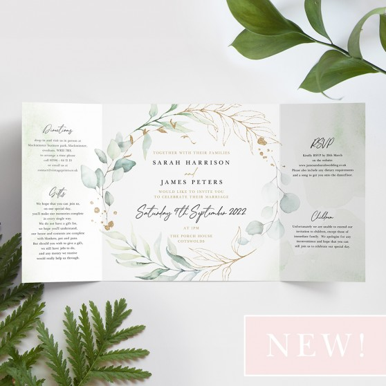 'Green & Gold Eucalyptus' Printed Gatefold Wedding Invitation