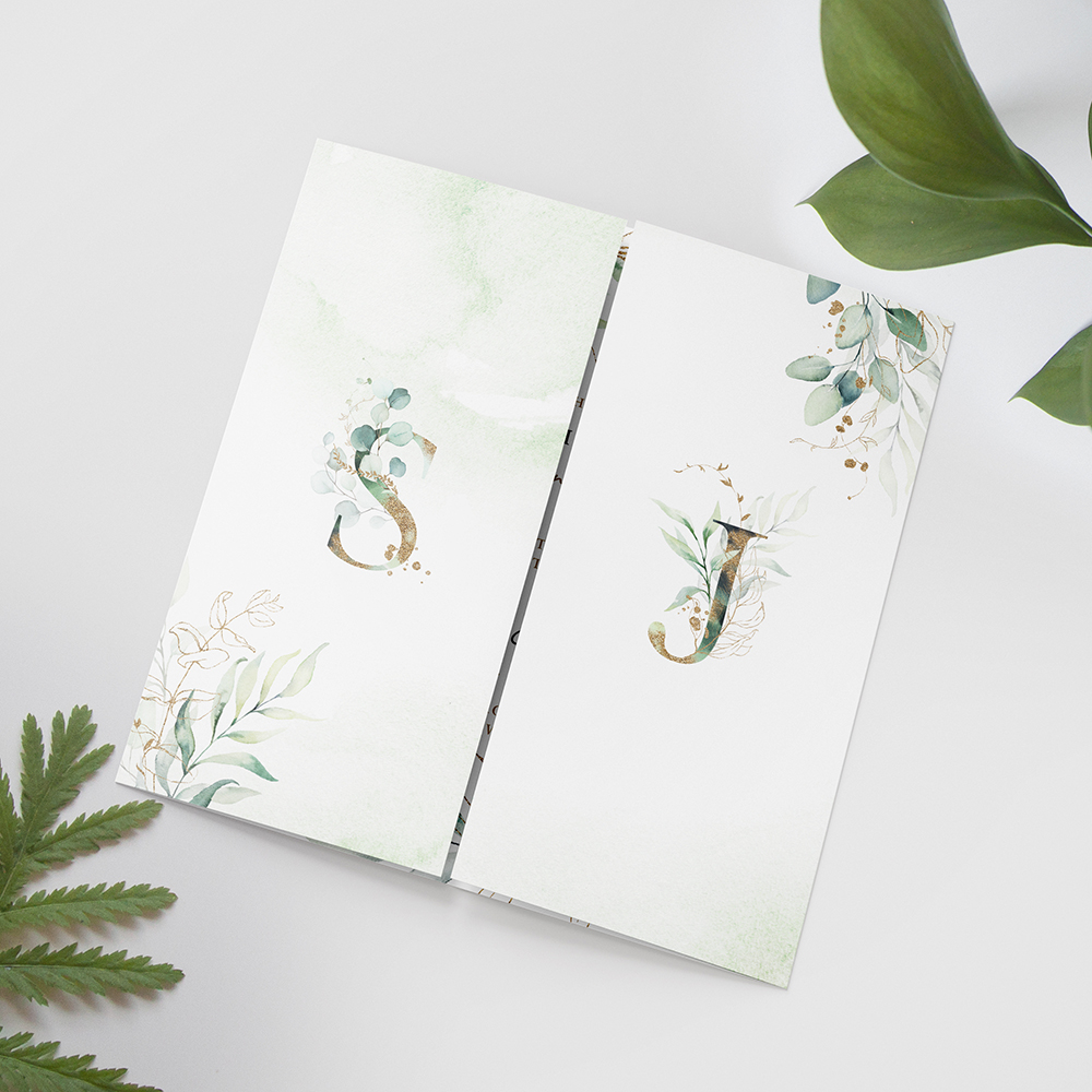 'Green & Gold Eucalyptus' Printed Gatefold Wedding Invitation Sample