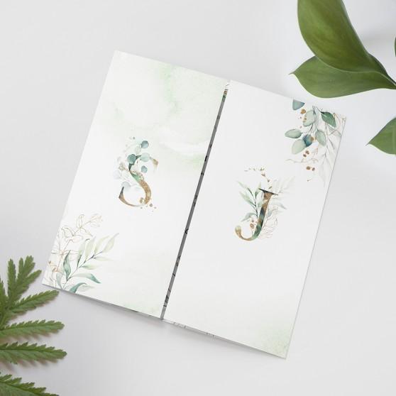 'Green & Gold Eucalyptus' Printed Gatefold Wedding Invitation
