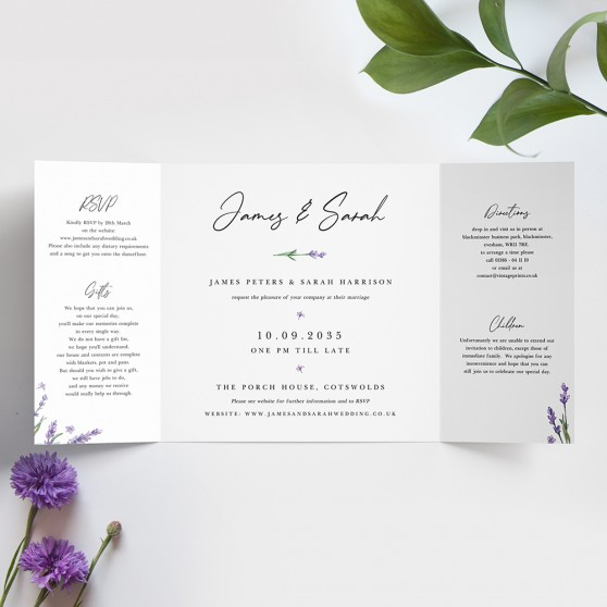 'Lavender' Printed Gatefold Wedding Invitation
