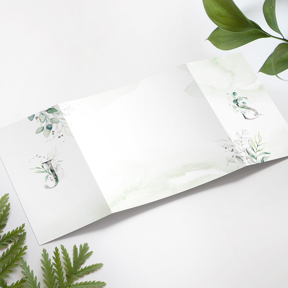 'Silver Eucalyptus' Printed Gatefold Wedding Invitation