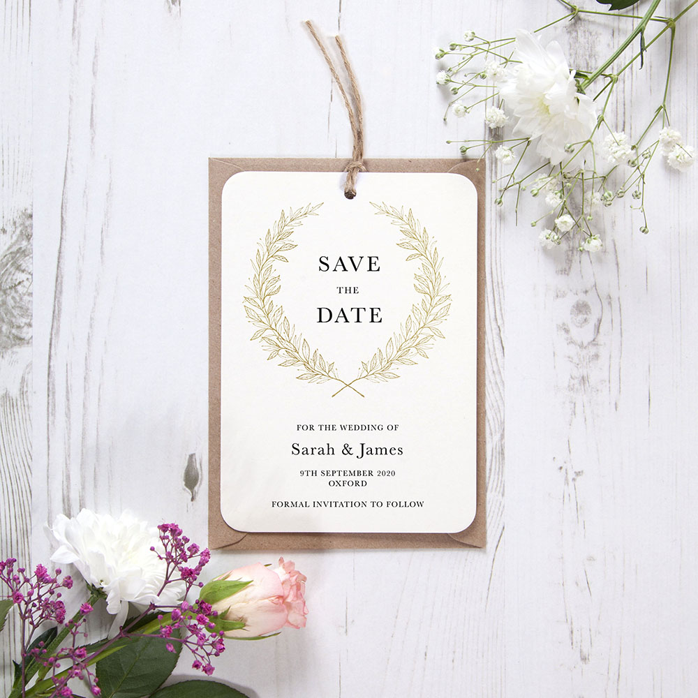 'Alice Gold' Hole-punched Save the Date Sample