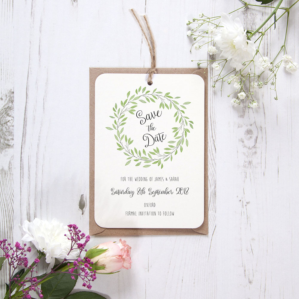 'Autumn Green' Hole-punched Save the Date Sample