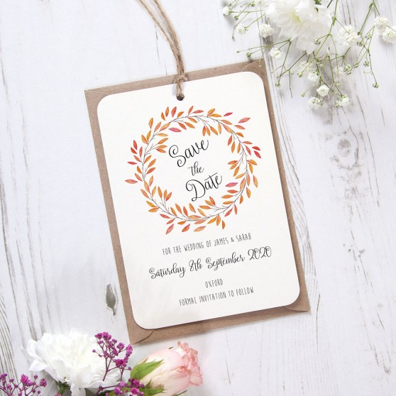 'Autumn Orange' Hole-punched Save the Date Sample
