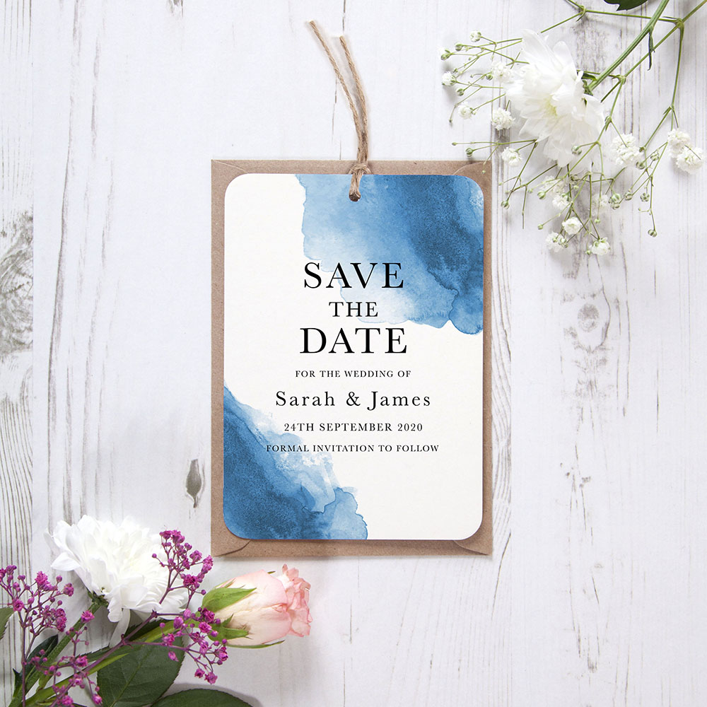 'Blue Watercolour Splash' Hole-punched Save the Date Sample