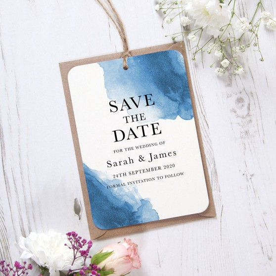'Blue Watercolour Splash' Hole-punched Save the Date