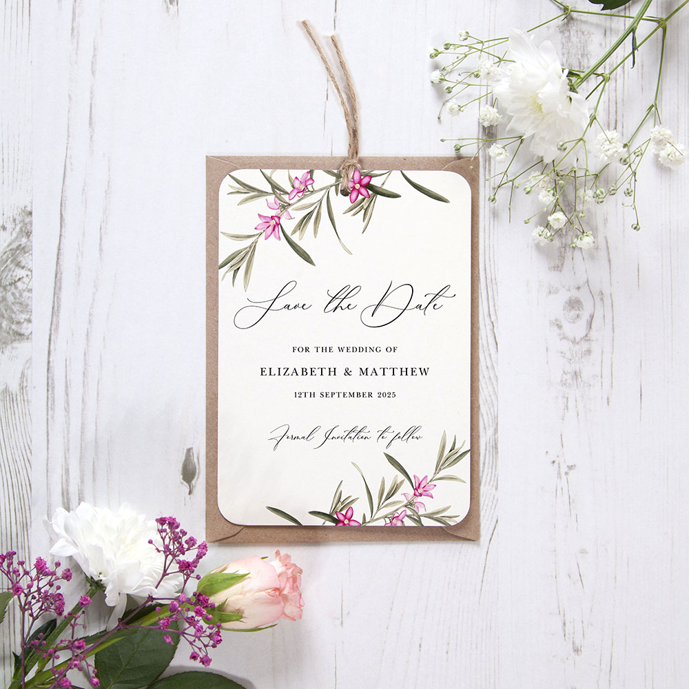 'Pink Botanical PB12' Hole-punched Save the Date Sample