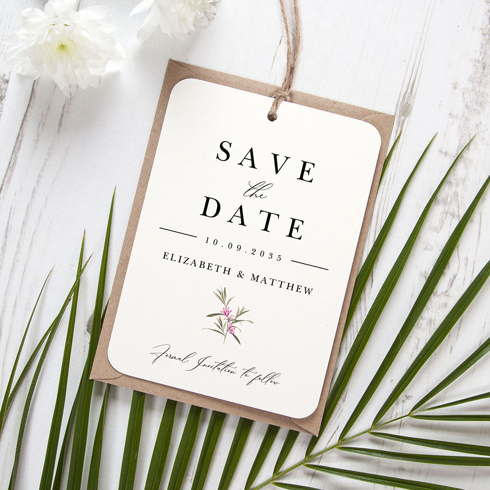 'Pink Botanical PB13' Hole-punched Save the Date Sample