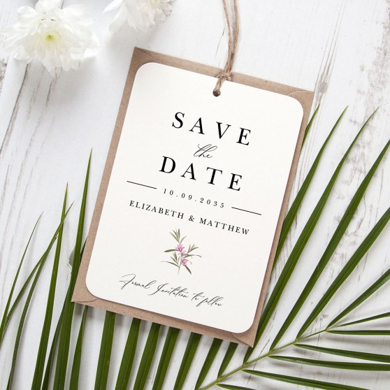'Pink Botanical PB13' Hole-punched Save the Date