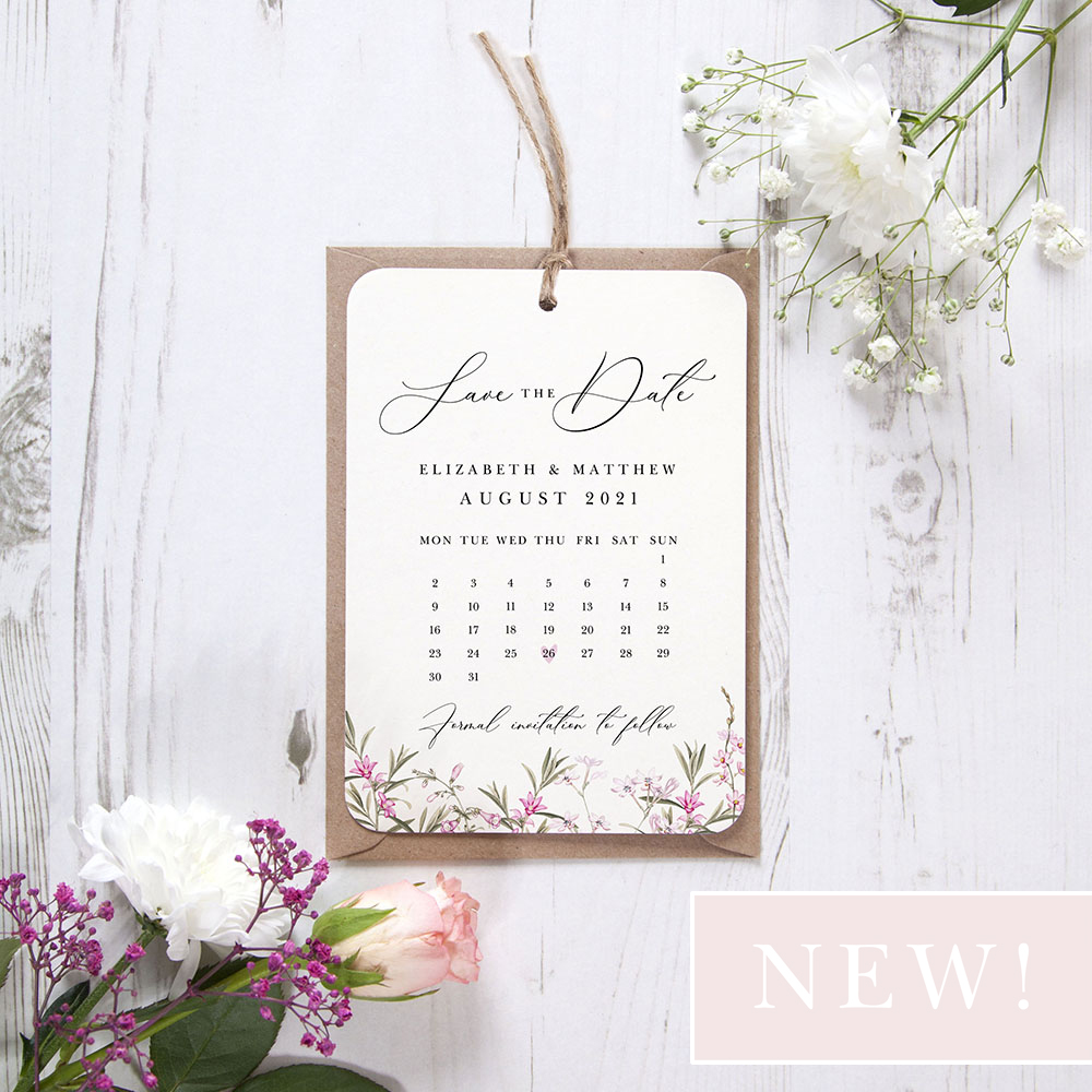 'Pink Botanical PB14' Hole-punched Save the Date
