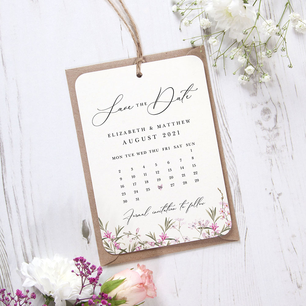 'Pink Botanical PB14' Hole-punched Save the Date Sample