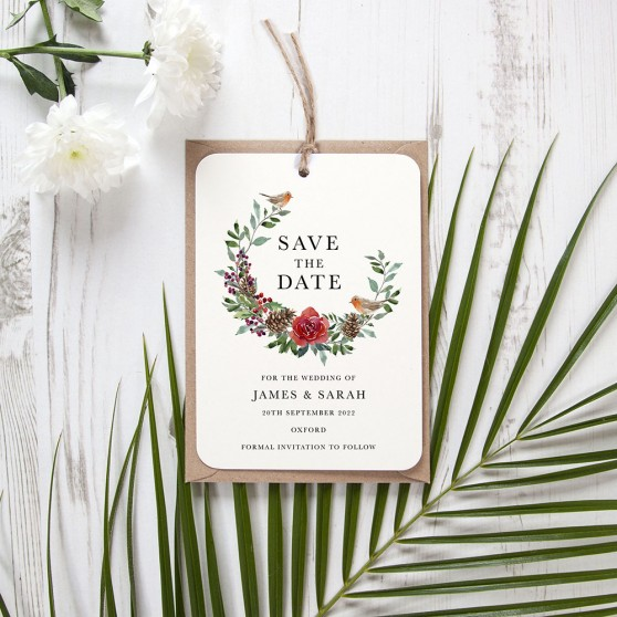 'Christmas Holly' Hole-punched Save the Date Sample