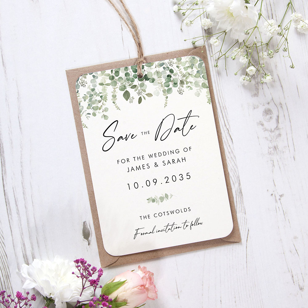 'Classic Eucalyptus CE14' Hole-punched Save the Date Sample
