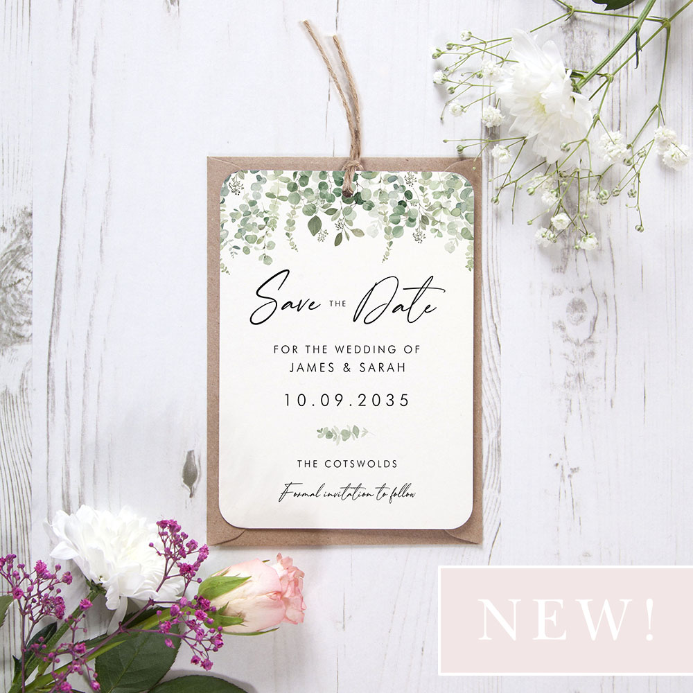 'Classic Eucalyptus CE14' Hole-punched Save the Date