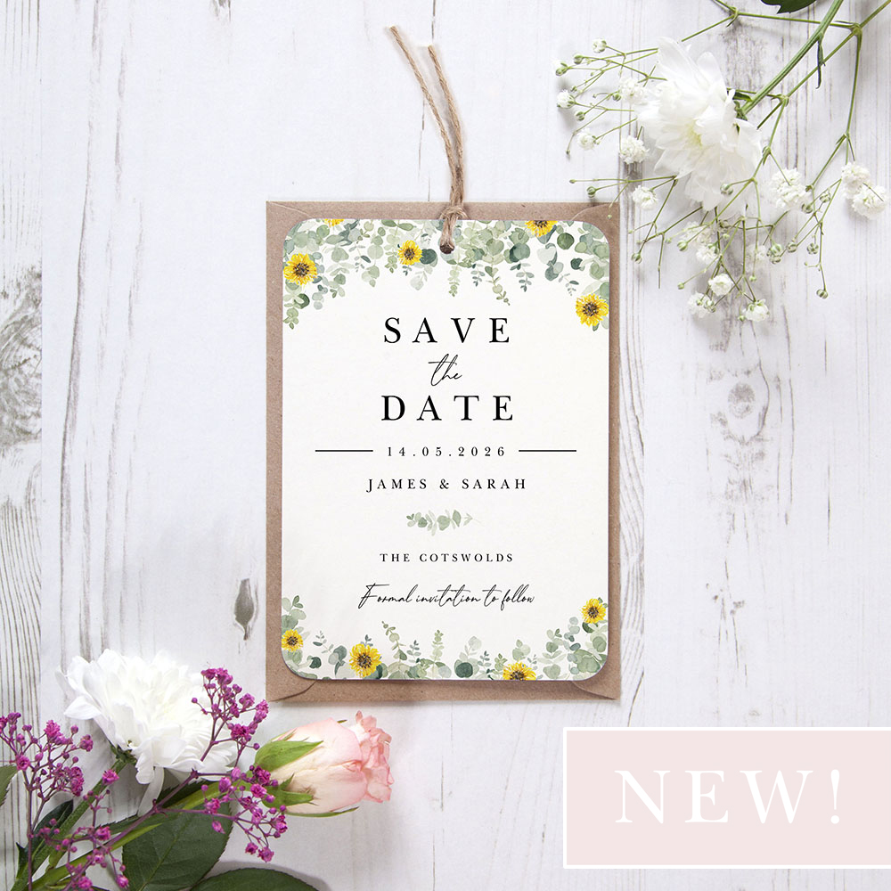 'Classic Eucalyptus Sunflower CE19' Hole-punched Save the Date Sample